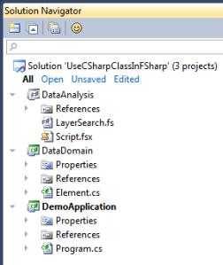 14_UseCSharpClassInFSharp_SolutionNavigator